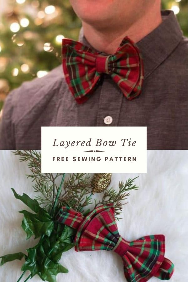 FREE sewing pattern for a Layered Bow Tie