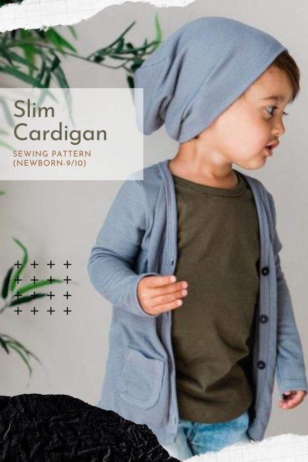 Sewing pattern for a kids Slim Cardigan (Newborn-9/10)