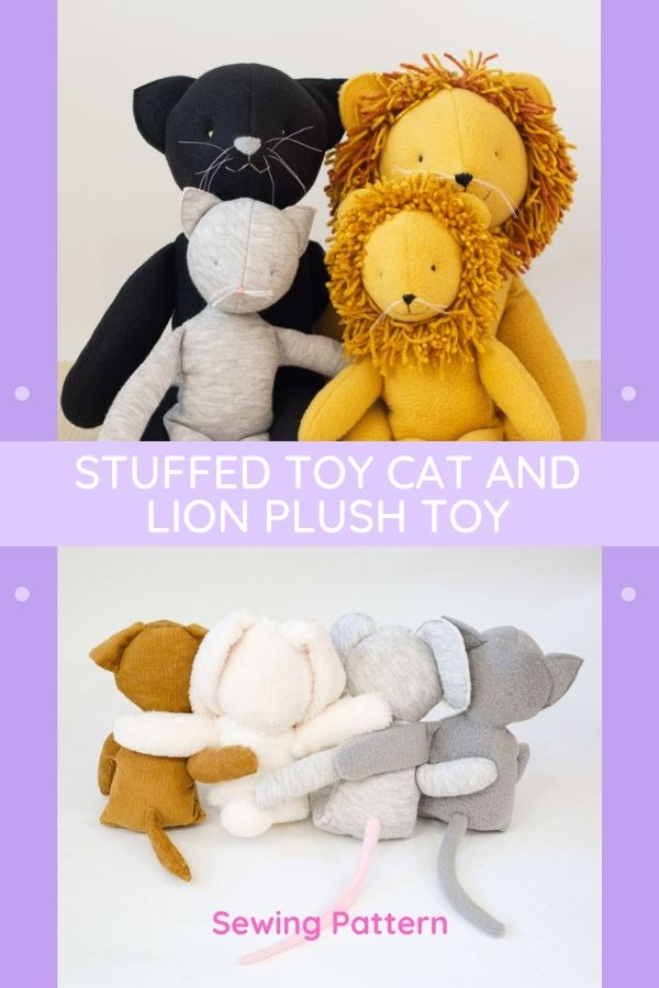 Toy Sewing pattern for the Stuffed Toy Cat and Lion Plush Toy