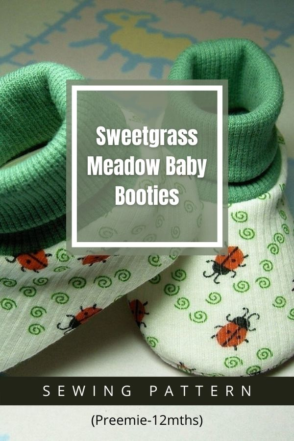 Sewing pattern for the Sweetgrass Meadow Baby Booties (Preemie-12mths)
