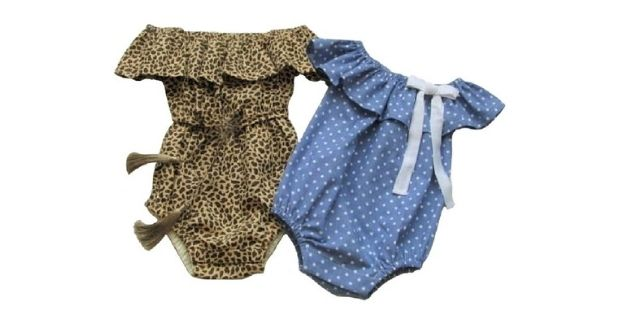 Sewing pattern for the Off The Shoulder Baby Romper (3mths-4T)
