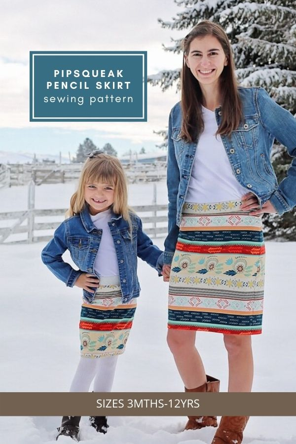 Sewing pattern for the Pipsqueak Pencil Skirt (Sizes 3mths-12yrs)