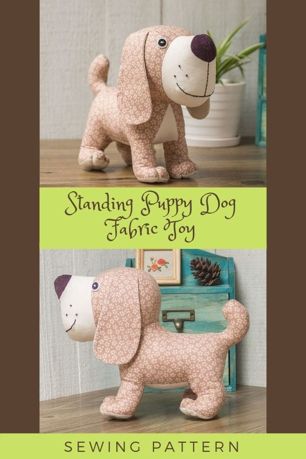 Sewing pattern for a Standing Puppy Dog Fabric Toy