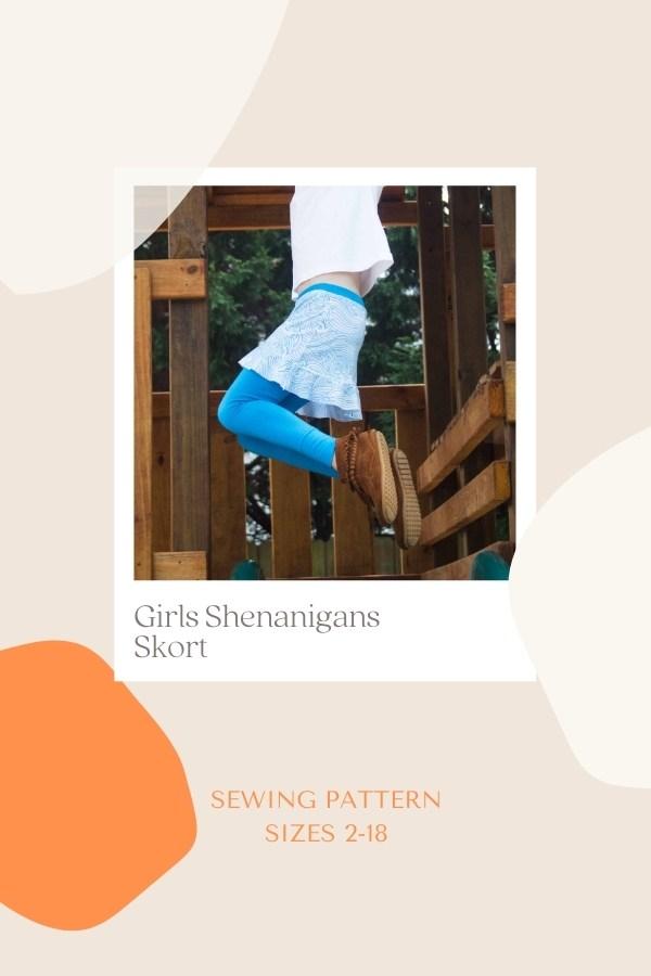 Girls Shenanigans Skort sewing pattern (Sizes 2-18)