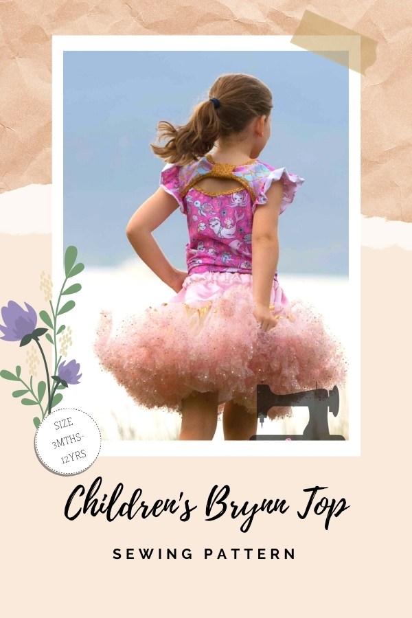 Children's Brynn Top sewing pattern (3mths-12yrs)