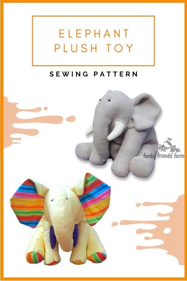 Elephant Plush Toy sewing pattern