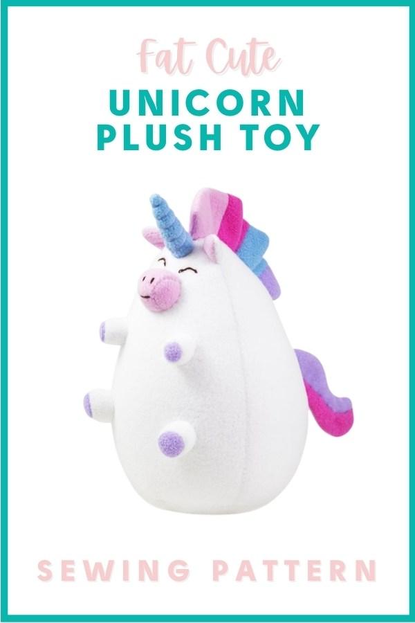 Fat Cute Unicorn Plush Toy sewing pattern