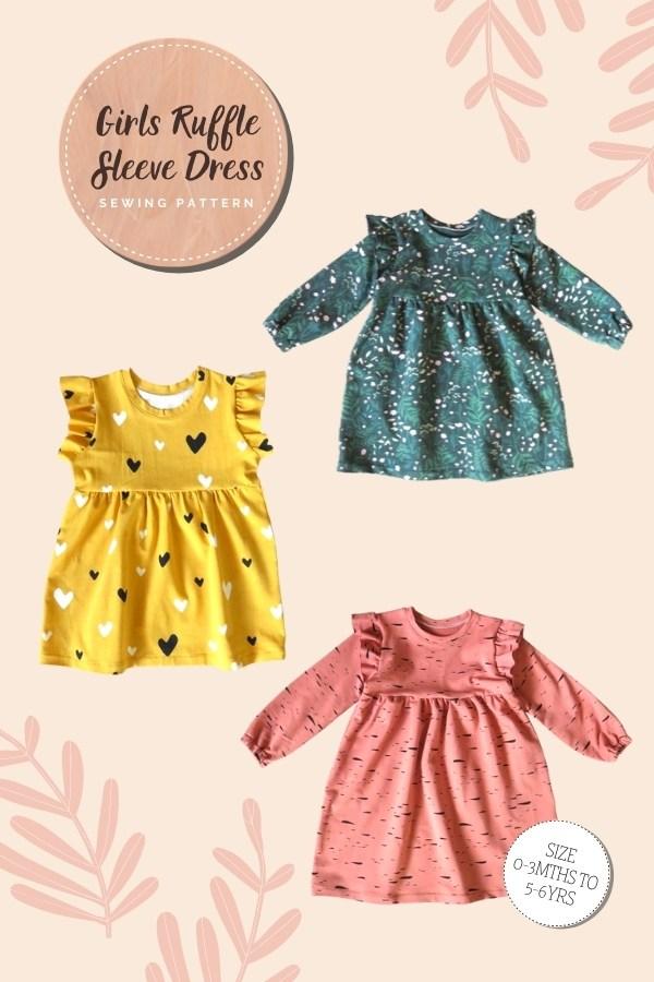 Girls Ruffle Sleeve Dress sewing pattern (0-3mths to 5-6yrs)