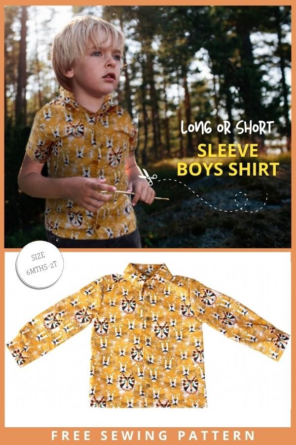 Long or Short Sleeve Boys Shirt FREE sewing pattern (6mths-2T)