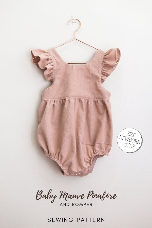 Baby Mauve Pinafore and Romper sewing pattern (Newborns-3yrs)