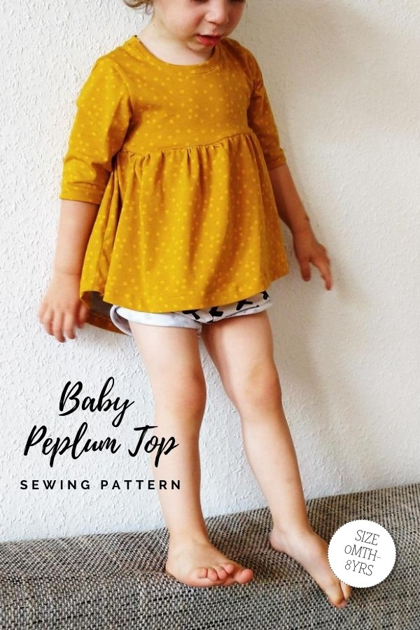 Baby Peplum Top sewing pattern (Newborn-6yrs)