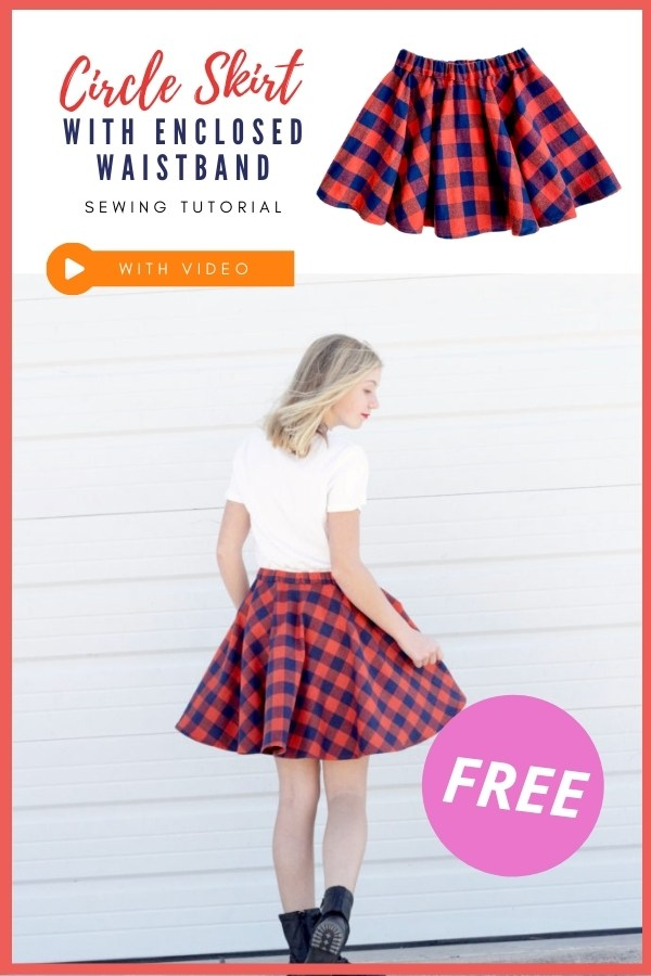 Circle Skirt with Enclosed Waistband FREE sewing tutorial (with video)