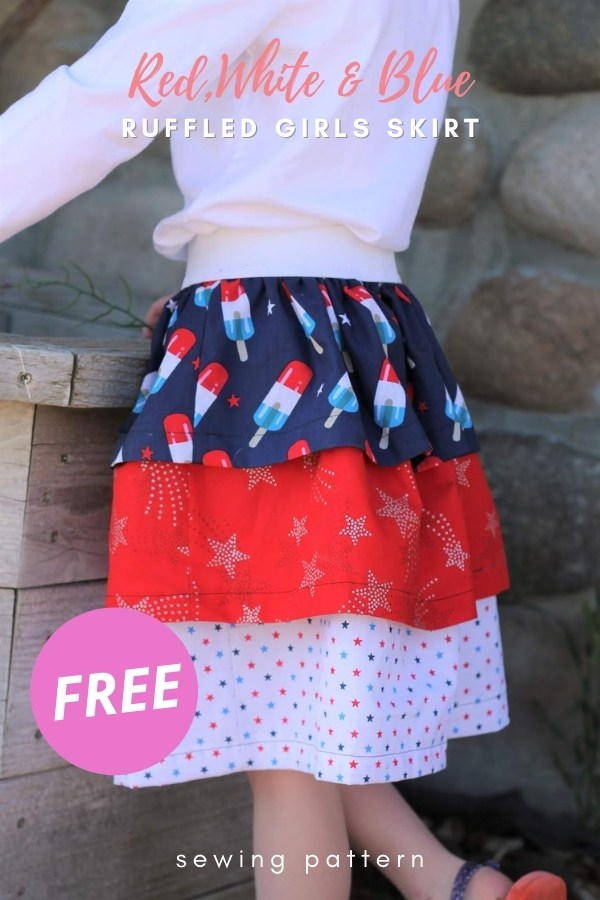 Red,White and Blue Ruffled Girls Skirt FREE sewing tutorial