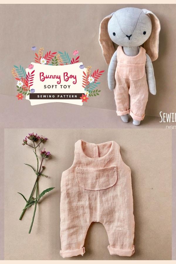 Bunny Boy Soft Toy sewing pattern