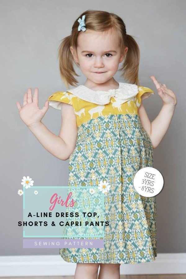 Girls A-Line Dress, Top, Shorts and Capri Pants sewing pattern (sizes 3-8)