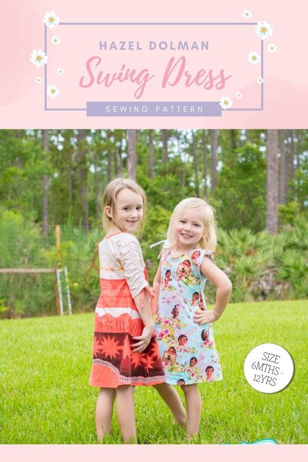 Hazel Dolman Swing Dress sewing pattern (6mths-12yrs)