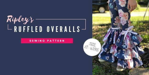 Ripley's Ruffled Overalls sewing pattern (sizes 2T-14)