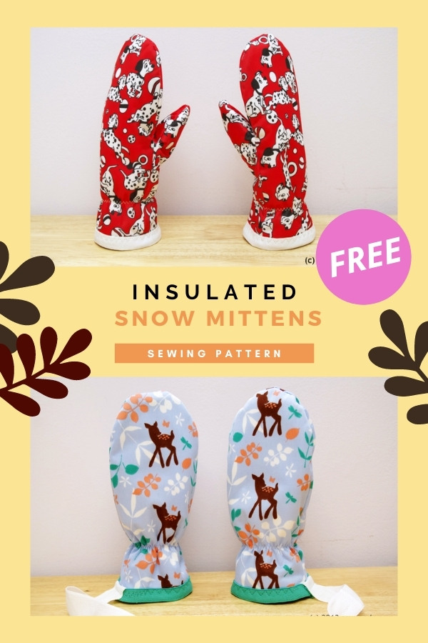 Insulated Snow Mittens FREE sewing pattern