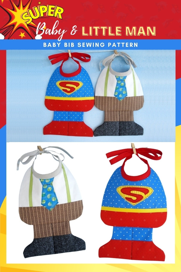Super Baby and Little Man Baby Bib sewing pattern